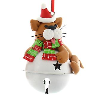 Single 9cm Jingle Bell Hanging Ornament - Cat Design