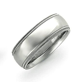 14kポーランド語のエングラヴァブルホワイト8mmダブルミルグレイン結婚指輪の指輪ジュエリーギフト - リングサイズ:5〜12