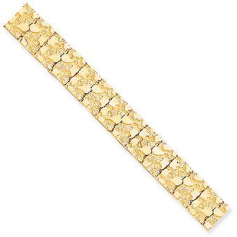 10k amarillo Pulsera NUGGET de oro sólido pulido doble en 15,0 mm - longitud: 7 a 8