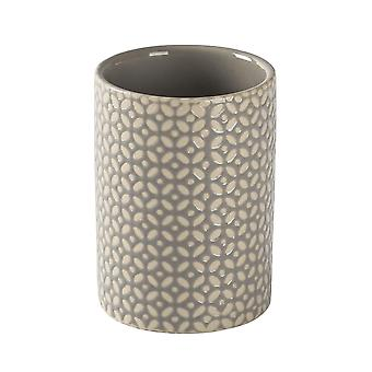 Toothbrush Holder - Bathroom Sink Basin Tumbler Caddy for Toothbrushes, Toothpaste - Ceramic - Grey