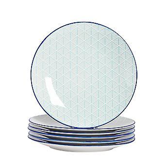 Nicola Spring 6 kpl geometrinen kuviollinen illallislautassarja - Suuret posliiniset ruokailulautaset - Electric Blue - 26,5cm