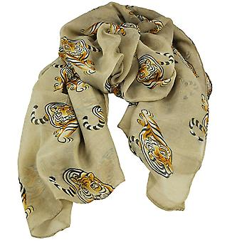 Ties Planet Tiger Animal Print Beige Lightweight Women's Châle Scarf