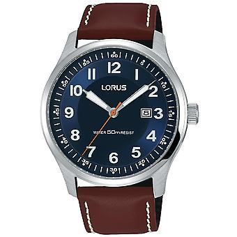 Lorus Mens Blue Dial Brown Leather Strap Watch with Contrast White Stitching