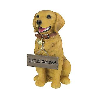 12.75 Inch Tall Harley the Golden Retriever Dog Realistic Lifelike Statue with Reversible Sign