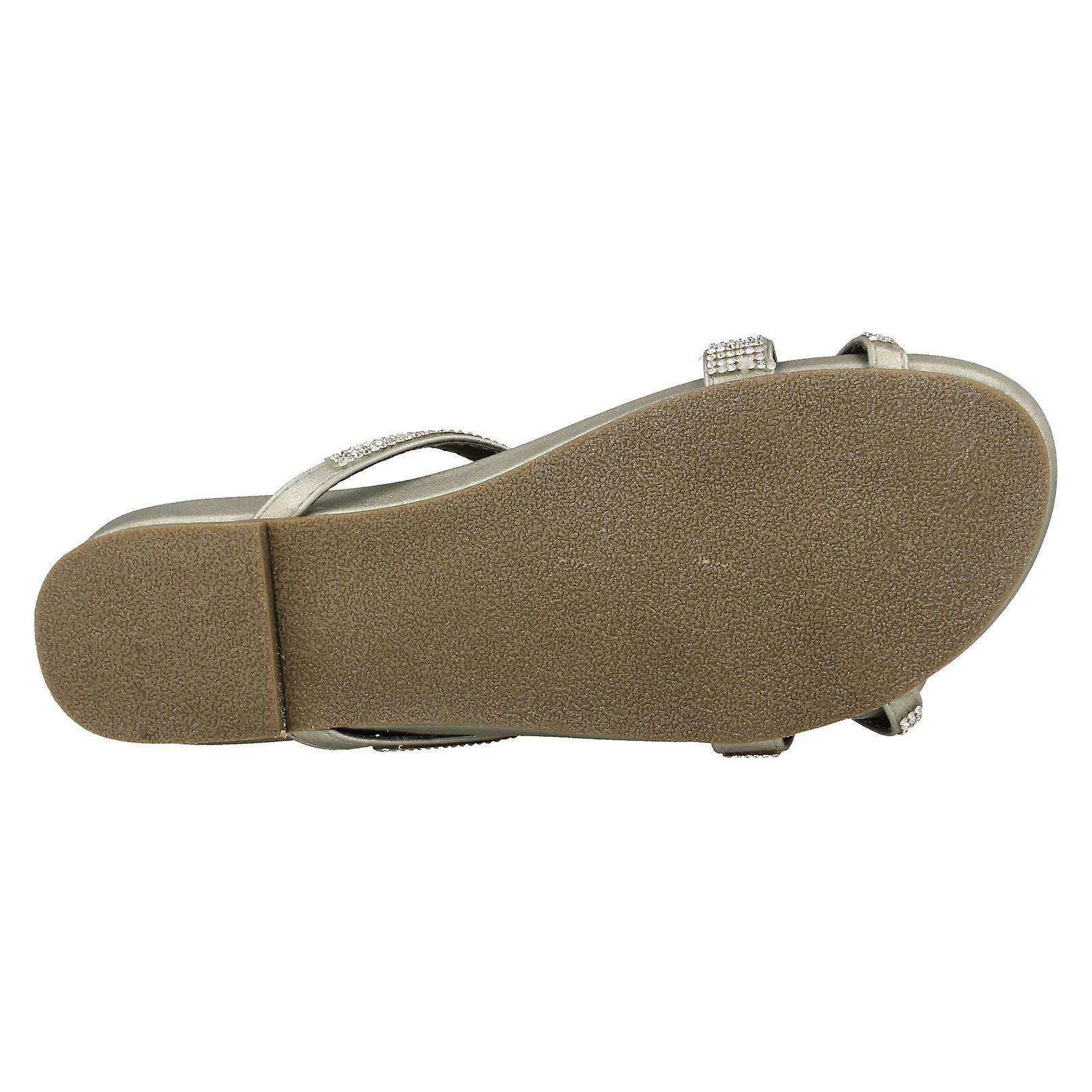 Spot On Womens/Ladies Diamante Flat Sandals