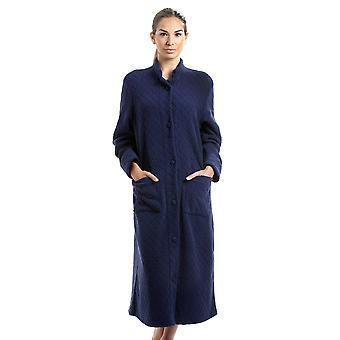 Camille Navy zachte Fleece Floral Full Length knop omhoog Housecoat