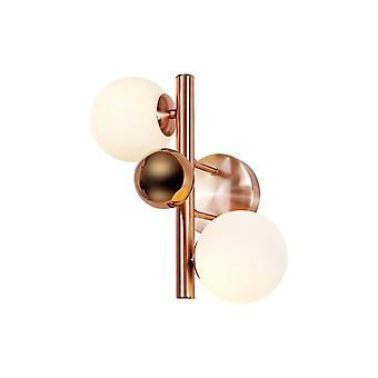 Rosalie Wall Lamp, 2 X G9, Antique Copper/opal & Copper Glass