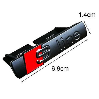 Gloss Black/Red ABS S Line Grill Badge Emblem With Clips For All Audi S, Q, A, RS Ranges 70mm x 15mm