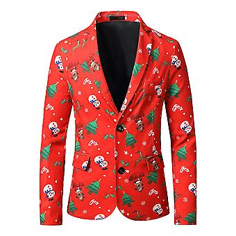 YANGFAN Mens Christmas Printed Suit Jacket Flat Barge Collar Two Buttons Blazer