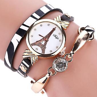 DUOYA DY008 Or Case Ladies Bracelet Montre Bracelet En cuir blanc noir Bracelet Quartz