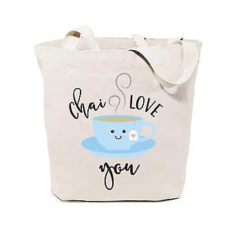 Chai Love You-puuvilla canvas tote laukku