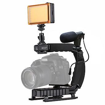 [UAE Stock] PULUZ U/C Shape Portable Handheld DV Bracket Stabilizer + LED Studio Light + Video Shotgun Microphone Kit with Cold Shoe Tripod Head  for