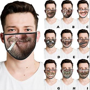 Black Mask, Dust-proof Ear-hanging Mask, Personality Spoof, Breathable Mask, Reusable, 9 Packs