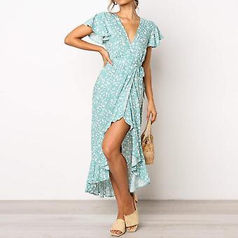 Summer Long Maxi Women Casual Floral Print Beach Dress