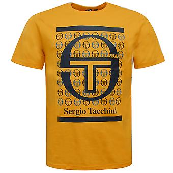 Sergio Tacchini Fiume Mens T-Shirt Grafisk Märkt Topp Orange 38726 407