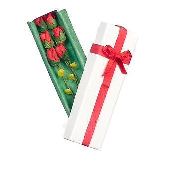 Κούκλες σπίτι τυλιγμένο κουτί των τριαντάφυλλων μινιατούρα λουλούδι κατάστημα δώρων αξεσουάρ 1:12 κλίμακα