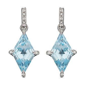 Elements Gold 9ct Kite Shape Blue Topaz In White Gold Earrings GE2344T