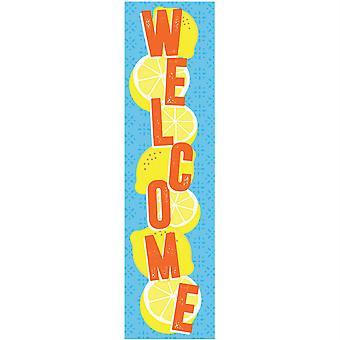 "Always Try Your Zest Welcome Vertical Banner, 12"" X 45"""
