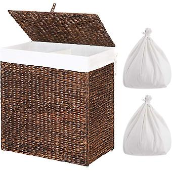 Greenstell Handwoven Laundry Basket with 2 Removable Liner Bags