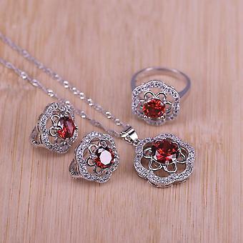 Zirconia Stone, Earrings Wedding With Ring, Pendant, Necklace Set