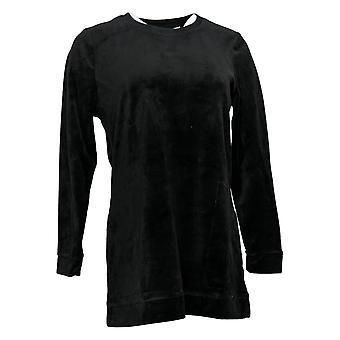 Denim & Co. Frauen's Pullover Velour Langarm Tunika Taschen schwarz A390299