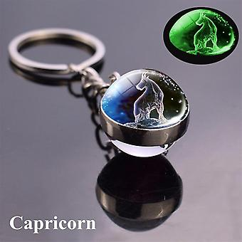 Luminous Keychain Glass Ball Pendant, Zodiac Keychain, Glow In The Dark, Holder