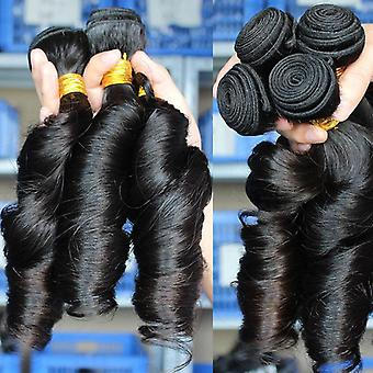 10a Grade Brazilian Spring Curl 3/4 Bundles With Closure 100%