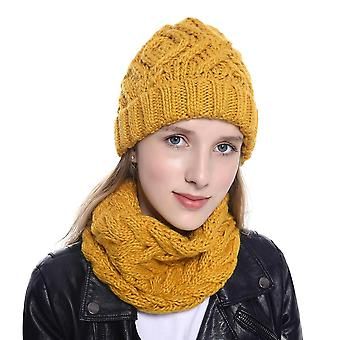 Hat & Scarf Women Two Pieces Knitted Winter Wool Beanie Cap