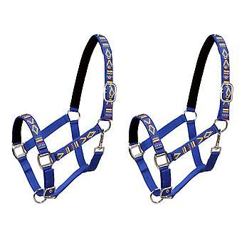 vidaXL الحصان هالتر 2 قطعة نايلون حجم الدم الدافئ الأزرق