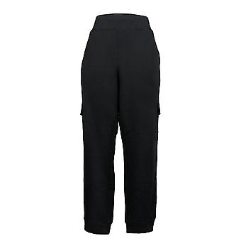 Susan Graver Women's Pants Brushed Back Knit Jogger With Trim Black A390467