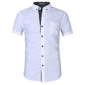 YANGFAN hombres's algodón business camisa camisa de manga corta botón abajo camisa de vestir