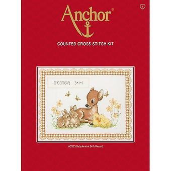 Anchor Counted Cross Stitched Kit ACS23 Baby Animal Birth Record New 20x26.5cm