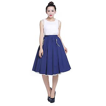 Chic Star Plus Size Flared Skirt In Navy