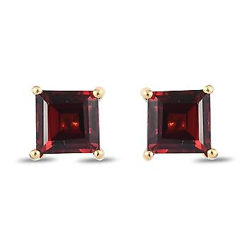 TJC Garnet Solitaire Stud Earrings Gold Plated Silver Birthday Gift 2.2ct