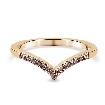 TJC Champagne Diamond Wishbone Ring Jubilæum Gave Forgyldt Sølv 0,39ct