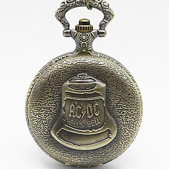 Bronze Pocketwatch Vintage Acdc Hells Bell Tema Quartz Pocket Watch