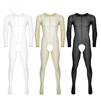 Mens See Through Sheer Long Sleeves, Crotchless Tights, Full Body Stockings