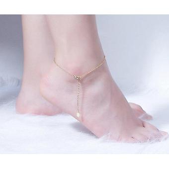 Simple Design 14k Gold Ecliptic Anklets