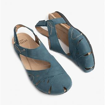 Earth Spirit Birdie Ladies Leather Touch Fasten Shoes Moroccan Blue