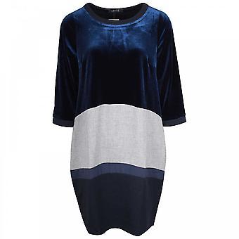 Latte Block Colour & Velvet Long Sleeve Dress