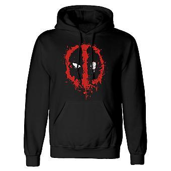 Deadpool Mens Splat Face Logo Hoodie