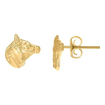 10k Yellow Gold Mens Animal Horse Good Luck Stud Earrings Jewelry Gifts for Men