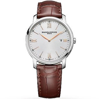 Baume & Mercier M0a10415 Classima Date Silver & Brown Leather Mens Watch