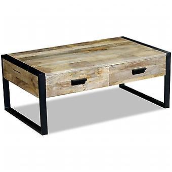 vidaXL table basse avec 2 tiroirs bois de mangue massif 100x60x40 cm