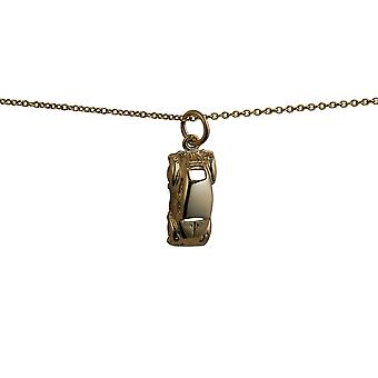 9ct Gold 16x8mm VW Beetle Car Pendant with a cable Chain 20 inches