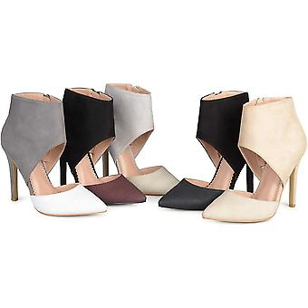 Brinley Co. Womens Faux Suede Faux Leather Ankle Cuff Two-Tone High Heels