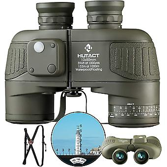 HUTACT 10x50 Compact Powerful Adult Binoculars with Illuminated Range Finder and Compass for Low Light Vision, Bird Watching, Boating, Safari and Hiking,(black)