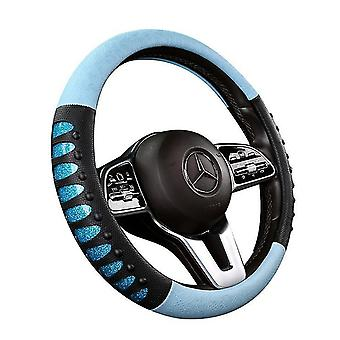 New Leather Steering Wheel Cover 38cm Diameter Breathable Silicone Anti-slip(Blue)