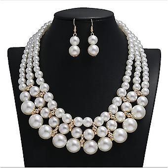 Duży naszyjnik z perłów zestaw wielowarstwowy kostium biżuteria naszyjnik kolczyki dla kobiet