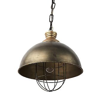 Domo de metal de bronce en apuros luz colgante